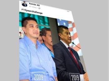 Netizen teruja apabila Azmin turut sertai #10yearchallenge' di akaun Facebook miliknya.