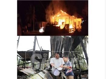 Gambar atas, kejadian kebakaran di Kampung Kok Pasir malam tadi. Gambar bawah, Aminuddin bersama anaknya memeriksa buku teks yang terbakar.