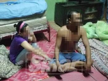 Pasangan  yang didakwa tidak mempunyai ikatan perkahwinan ini ditahan kerana disyaki positif dadah di Kampung Nail awal pagi tadi.