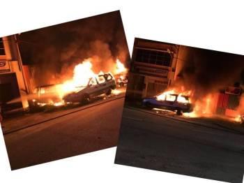 Keadaan kenderaan lusuh yang terbakar