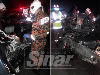 Anggota keselamatan mengeluarkan mangsa di lokasi kejadian.