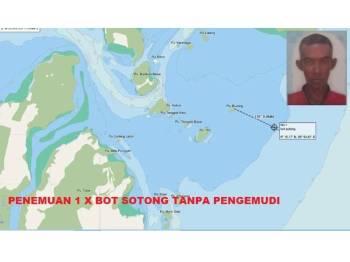 Lokasi penemuan bot mencandat sotong itu. Gambar kecil, Hasrul.