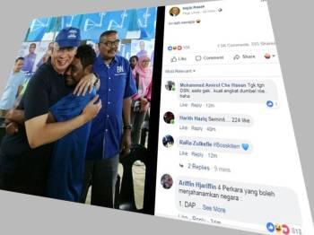 Teruja, salah seorang Orang Asli memeluk erat bekas Pengerusi BN, Datuk Seri Najib Tun Razak ketika program bersama calon BN, Rahim Mohd Nor semasa berkempen di Kampung Terisu ketika PRK Cameron Highlands hari ini. Foto: Sharifudin Abdul Rahim