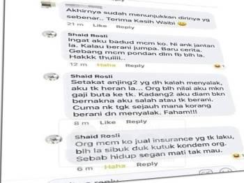 Petikan 'pergaduhan' dalam ruangan komen pada akaun yang tertera nama Shaid Rosli tular di media sosial, baru-baru ini.