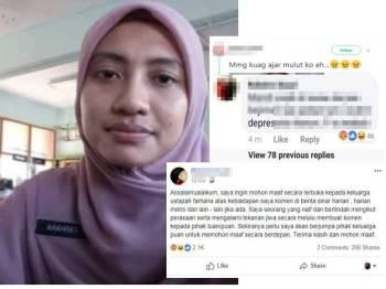 Paparan skrin permohonan maaf terhadap Ustazah Nur Farhana dan keluarga.