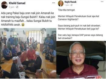 Troll dibuat Khalid terhadap Najib ekoran warna baju dipakai beliau ketika turun berkempen dalam PRK Cameron Highlands semalam. (Gambar Kanan: Najib turut membalas 'troll' Khalid dengan mempersoalkan kehadiran Menteri Wilayah Persekutuan di Cameron Highlands.)