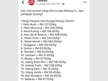 Senarai harga ikan yang ditular di Facebook.