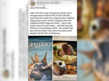 Tular di media sosial, iklan mempromosi makanan dan gambar daging babi yang diterbitkan dalam majalah MAS, Going Places keluaran Januari 2019. - Foto Utusan Malaysia.