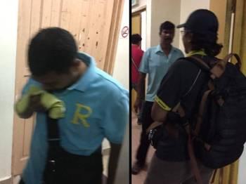 Redzuan dan Mazlan (baju hitam) keluar dari kamar perbicaraan.