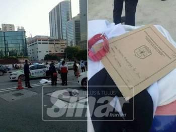 Athirah Batricesya maut dirempuh teksi ketika dalam perjalanan ke sekolah pagi. Gambar kanan: Barangan milik mangsa yang ditemui di lokasi kejadian.
