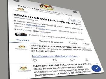Paparan skrin Twitter Kementerian Hal Ehwal Najib.