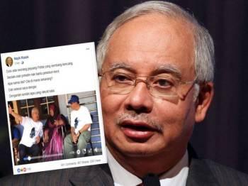 Paparan skrin hantaran Najib di laman Facebooknya, hari ini.
