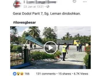 Tular di laman sosial Facebook mengenai aktiviti perobohan gerai dodol di Parit 7 Sungai Leman, di sini.