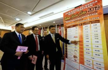 Saifudin (kanan) menunjukkan senarai harga kawalan pada sidang media Majlis Pengumuman Skim Barangan Kawalan Harga Musim Perayaan Tahun Baharu Cina 2019 di kementeriannya, hari ini. - Foto Bernama