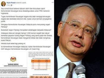 Kenyataan Najib di Facebook menggesa Guan Eng berhenti menggunakan saluran dan kenyataan rasmi Kementerian Kewangan untuk berpolitik