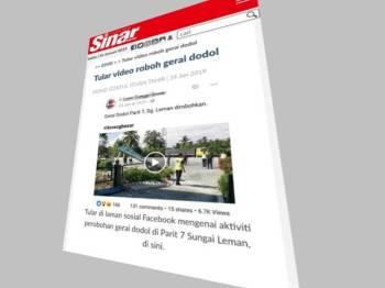 Sinar Harian melaporkan operasi perobohan struktur gerai yang dilaksanakan PDT Sabak Bernam tular di media sosial.