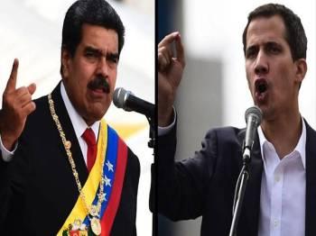 Kemelut politik Venezuela menyaksikan pertembungan antara Maduro (kiri) dan Guaido kanan. - Foto BBC