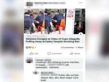 Gambar anggota polis merokok di premis makanan yang tular di laman sosial.