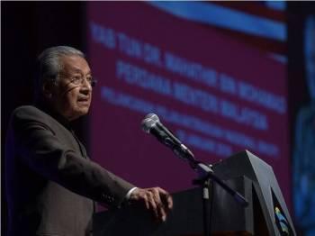 Perdana Menteri Tun Dr Mahathir Mohamad ketika berucap pada Majlis Pelancaran Pelan Antirasuah Nasional 2019-2023 di Pusat Konvensyen Antarabangsa Putrajaya (PICC) hari ini. - Foto Bernama