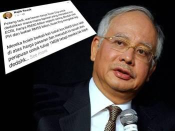 Kenyataan Najib di Facebook yang menyindir Guan Eng mengelak untuk menjawab soalan wartawan.