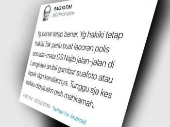 Paparan skrin ciapan Rais yang meminta laporan polis terhadap Najib dihentikan.