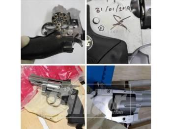 Sepucuk  pistol tiruan yang ditemui hasil daripada tangkapan sindiket berkenaan.