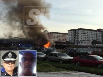 Kejadian kebakaran yang memusnahkan 200 lot kedai di Uptown Puchong Permai. (Gambar kecil: Asisten Komisioner Risikin Satiman, Abdul Rahim)