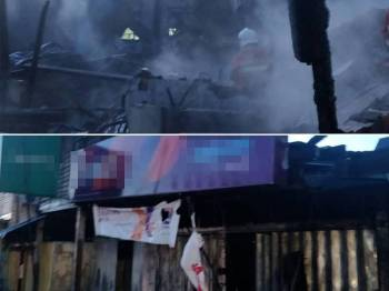 Empat buah kedai musnah terbakar di Kemayan, Jalan Triang, di sini, awal pagi tadi. - FOTO IHSAN BOMBA