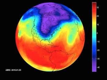 Data inframerah yang menunjukkan vorteks kutub yang bergerak dari Kanada Tengah ke Midwest AS dari 20 hingga 29 Januari lalu.