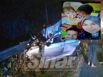 Keadaan kereta mangsa selepas terlibat kemalangan di KM 55 Jalan Kluang - Kota Tinggi, malam tadi. (Gambar kecil, Mohd Firdaus, Norlia serta dua anak mereka).