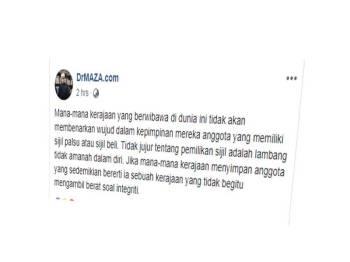 Kenyataan Mohd Asri menerusi hantaran di Facebook berkaitan pemilikan sijil palsu