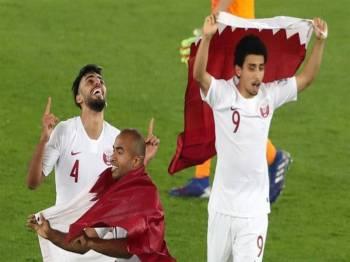 Pemain Qatar meraikan kejayaan menjuarai Piala Asia selepas menewaskan Jepun.