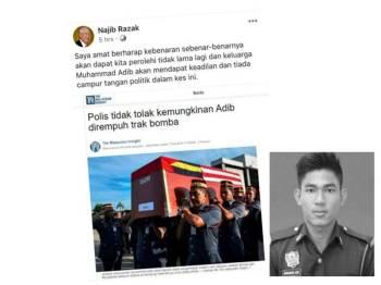 Paparan skrin hantaran Najib di laman sosial Facebook miliknya.