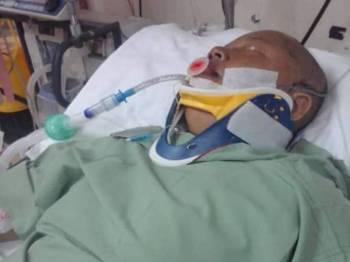 Keadaan Sarti ketika dirawat di hospital.
