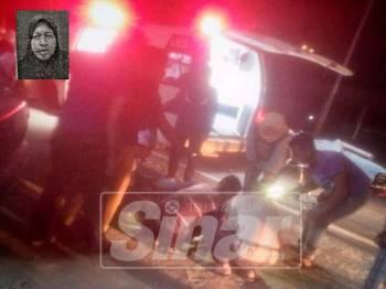 Mangsa yang parah di kepala dikejarkan ambulans ke Klinik Kesihatan Kerteh sebelum disahkan meninggal dunia. (Gambar kecil: Fatimah Ibrahim)