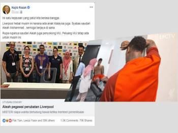 Paparan Facebook Najib dan gambar Alea tular di media sosial.