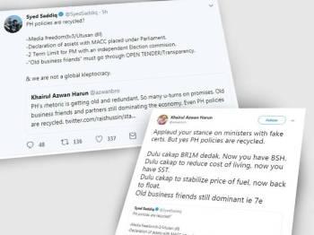 Paparan Twitter antara Saddiq dan Khairul Azwan.