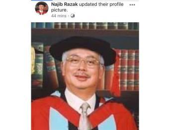 Gambar profil terbaharu Najib di laman sosial Facebook miliknya.