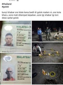 Gambar kejadian tembakan yang meragut nyawa seorang rakyat Malaysia turut tular di laman sosial.