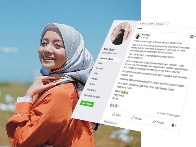 Facebook peminat Mira Filzah.
