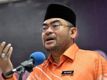 Menteri di Jabatan Perdana Menteri Datuk Seri Dr Mujahid Yusof berucap ketika Perhimpunan Bulanan Majlis Agama Islam Wilayah Persekutuan di Bangunan Perkim hari ini. Foto: Bernama