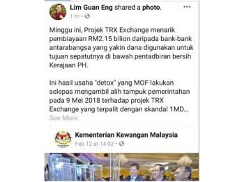 Paparan skrin perkongsian Guan Eng di laman sosial Facebook, miliknya.