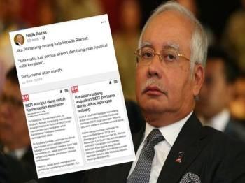 Hantaran yang dimuat naik Najib di laman sosial Facebook miliknya.