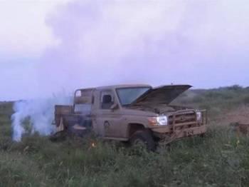 Sebuah kenderaan tentera Houthi yang digunakan semasa serangan ke atas kedudukan tentera Arab Saudi berhampiran sempadan Yaman.