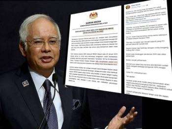 Paparan skrin kenyataan Najib di laman sosial Facebook, miliknya.