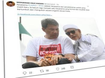 Mohamad berkongsi gambar bersama Presiden Pas, Datuk Seri Abdul Hadi Awang.