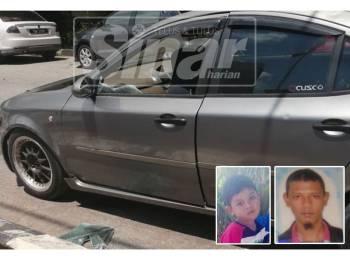 Keadaan kereta mangsa selepas cermin sebelah penumpang hadapan dipecahkan untuk menyelamatkan nyawa bapa dan anak yang berkeadaan kritikal selepas disyaki lemas dalam kenderaan ini. Gambar kecil: Putera Rafiudin dan Mohd Amiroshelmi