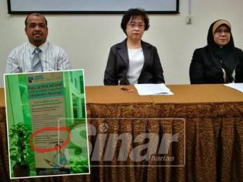 Dari kiri, Ahmad Shahrin, Bee Chan dan Katini semasa sidang media di Hospital Pantai Sungai Petani. Gambar kecil; Iklan biasiswa kejururawatan yang mengundang reaksi negatif awam.