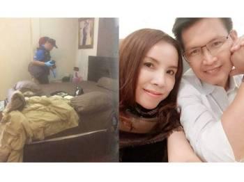 Polis menyiasat tempat kejadian. Gambar kecil, Mayura dan suami - Foto Agensi