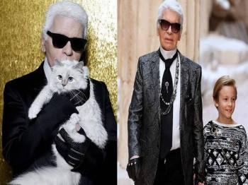 Karl bersama kucing kesayangannya, Choupette.(Gambar kanan: Karl bersama Hudson.)